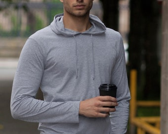 BOX male active cotton athletic gym long sleeved hooded top fitness clothing