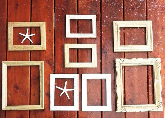 Home decor vintage wooden frames set of 8 frames for Bungalow style picture frames