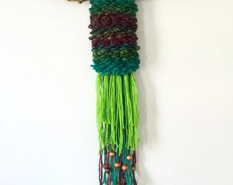 Small Green Woven Wall Hanging Tapestry mounted on driftwood