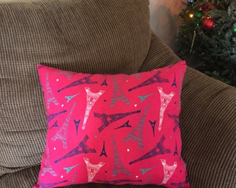 Pink Eiffel Tower decorative Pillow