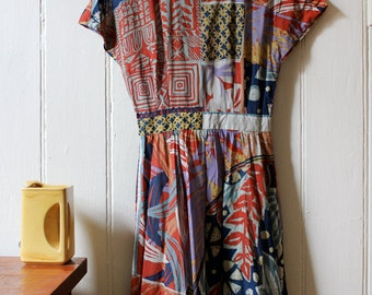 Vintage 1980's collage pattern cotton dress - Small to Medium
