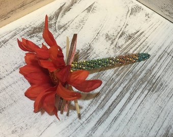 Burnt Orange flower pen