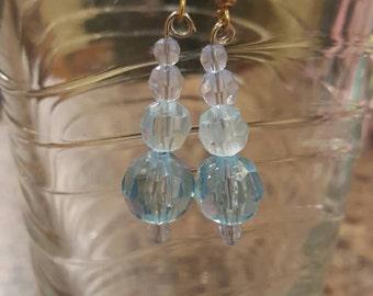 Light blue crystal handmade earrings