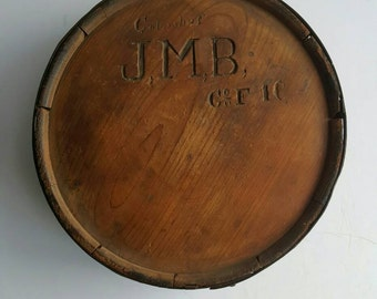 Confederate cedar wood canteen civil war relic J.M.B of Columbus