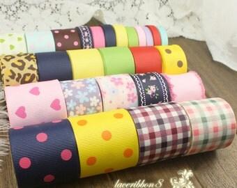 27 yards Ribbon Lot Bundle - 1 yard each of Solid Polka Dot Love Heart Flower Grosgrain Ribbon for Kids Children