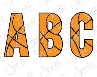 Basketball Font Cut File Basketball SVG Font Basketball Team Monogram Font Clipart Svg Dxf Eps Png Silhouette Cricut Cut File Commercial Use