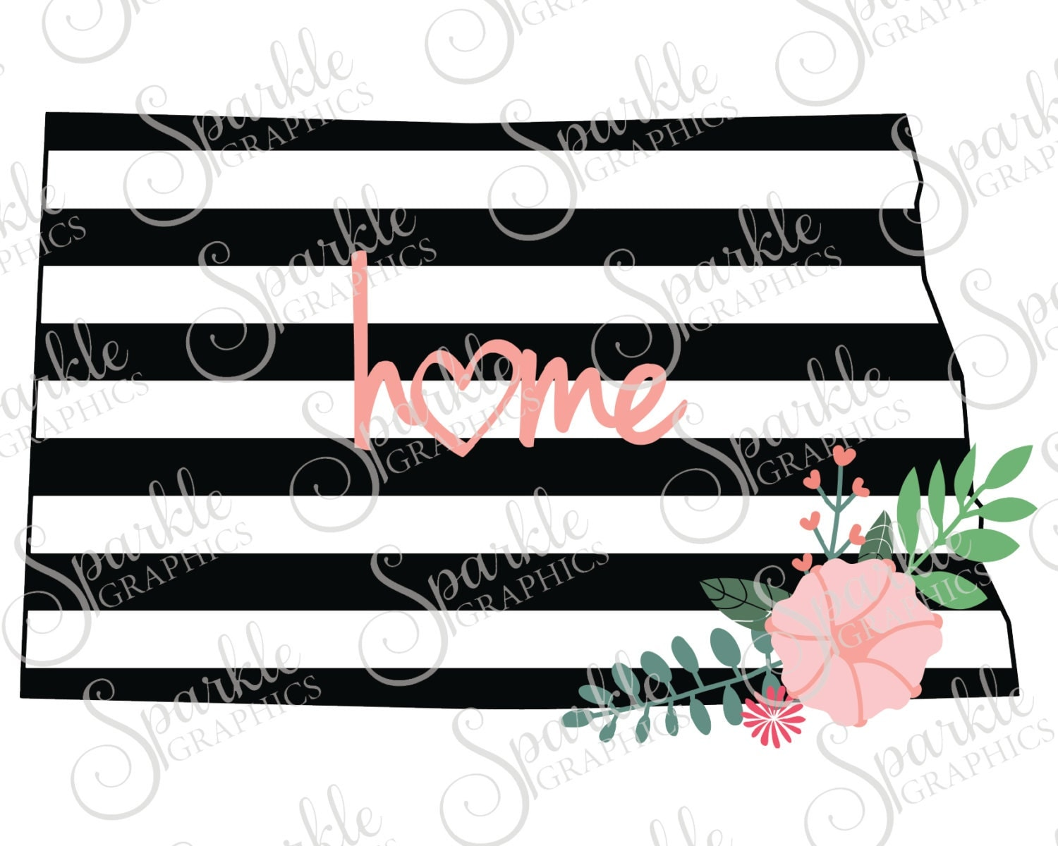 North Dakota Cut File Stripes Flowers Stripes State Black And