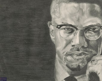 Malcolm X black and white graphite portrait  // limited edition prints // black and white print// illustration print
