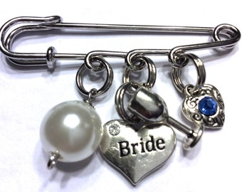 Bridal Pin, Something Old New Borrowed Blue, Wedding Pin, Something Blue Charm, Something Blue Wedding, Bride To Be Gift, Bride Gift, Bride
