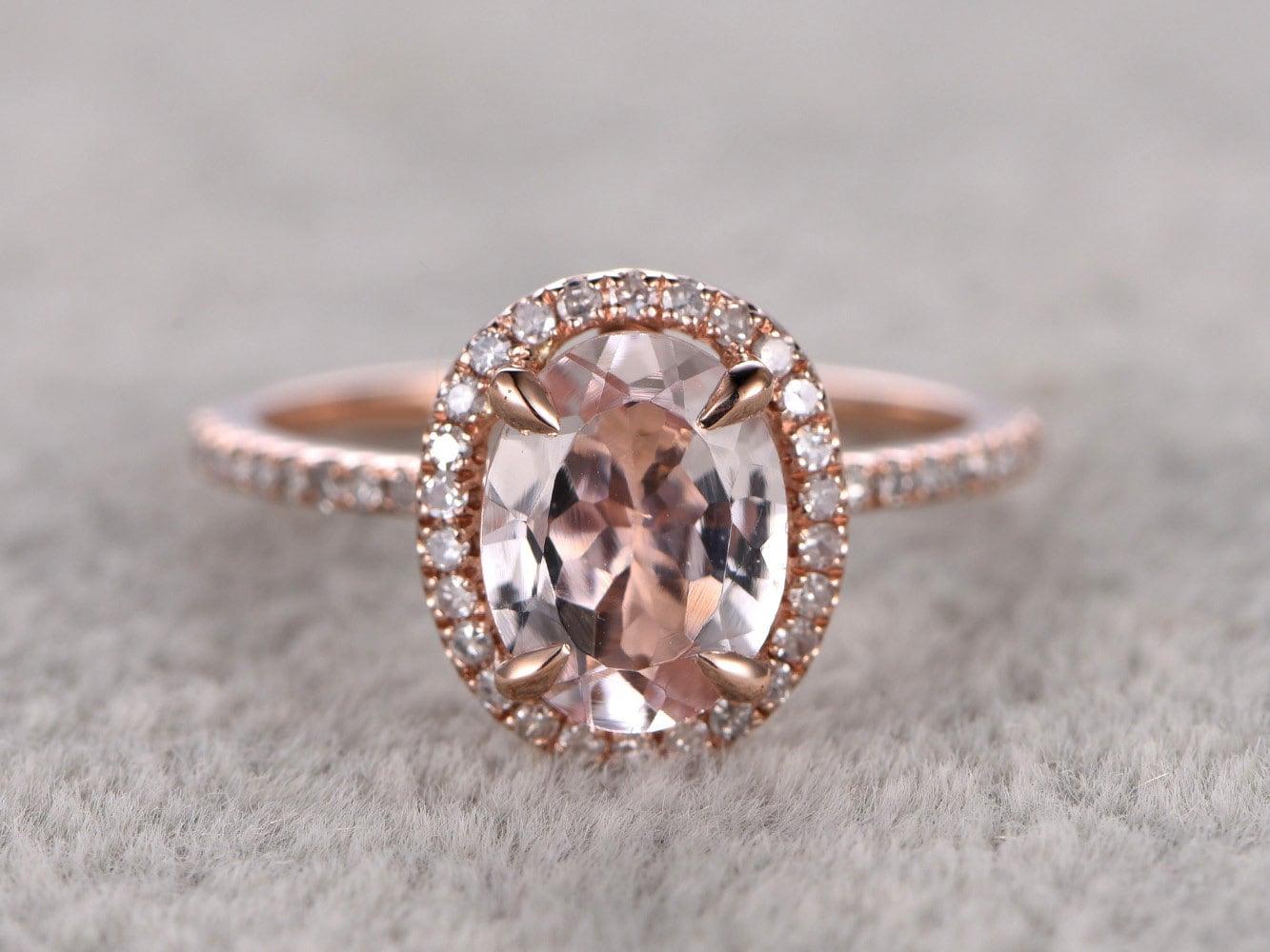 6x8mm morganite engagement ring rose golddiamond wedding. Black Bedroom Furniture Sets. Home Design Ideas