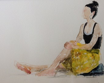 giclee reproduction of original watercolor of girl in yellow skirt sitting