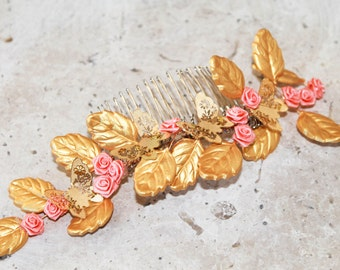 Flower girl headpiece, flower girl wreath, flower girl headband, girls headpiece, wedding headpiece, gold headpiece,