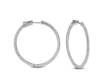 Silver Hoop Earrings 1.25 inch