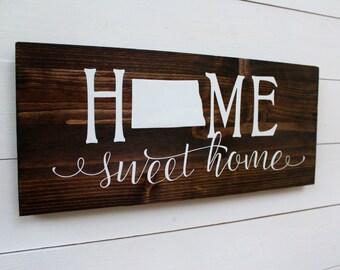 Home Sweet Home North Dakota | Housewarming | Rustic Home Decor | Entryway Sign | Fargo |Wall Sign | Wall Decor | Gift under 25