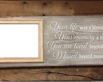 Distressed memorial photo frame