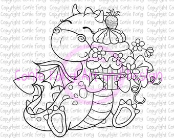 Digital Stamp, Digi Stamp, Digistamp, Tori the Dragon-Birthday Girl by Conie Fong, cake, cupcake, birthday, celebration, congratulation
