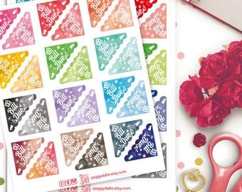 Bill Due Corner Watercolor Planner Stickers | ECLP | Bills Stickers | Kikki K | Filofax | Life Planners | Happy Planner