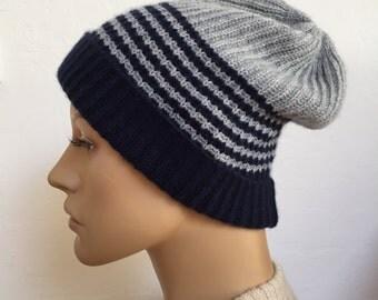Cashmere hat two-tone, dark blue grey, beanie, cashmere hat
