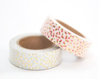 Polka Dot Washi Tape with Gold Foil | Blue or Red