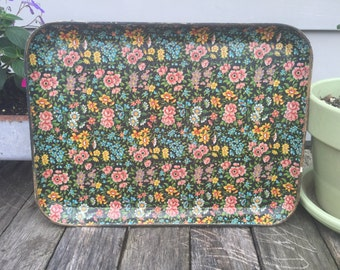 Vintage Retro Flower Rectular Decorative Tray - Black with Pink Blue Yellow Green Flowers