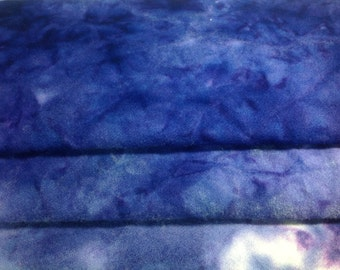 Pansy Purple (3 values) - Hand Dyed Rug Hooking Fabric - 1/4 Yard