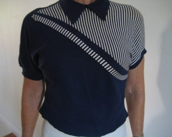 Vintage 50s Navy striped cropped top
