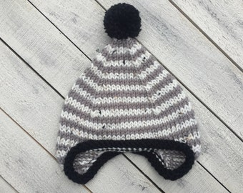 Gray Earflap Hat, Gender Neutral Baby Hat, Winter Infant Hat, Knit Baby Cap, Neutral Coming Home Outfit, Newborn Fall Hat, Baby Shower Gift