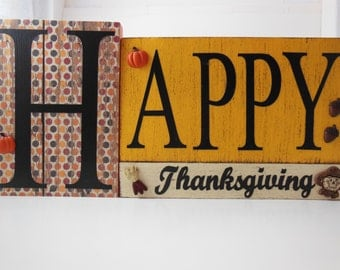 Happy Thanksgiving Wood Block Sign