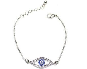 Delicate Evil Eye Bracelet, CZ Evil Eye Bracelet, Nazars Jewelry, Hamsa Bracelets, Danity Bracelets