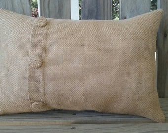 Burlap Lumbar Pillow Cover with Button accents, Throw pillow cover, Accent pillow, Rustic Pillow, Pillow cover