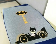 batman quilt, baby quilt, customized quilt, todler quilt, superhero quilt, gray and blue quilt, lap quilt, baby shower gift, grandmas gift