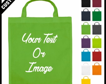 cheap custom short handle customised green grocery bags