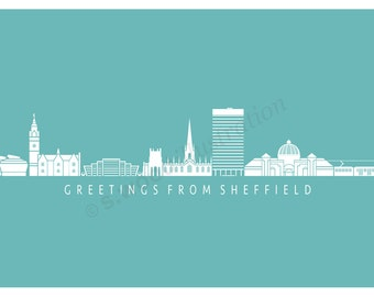 Sheffield Silhouette Greeting Card - Turquoise