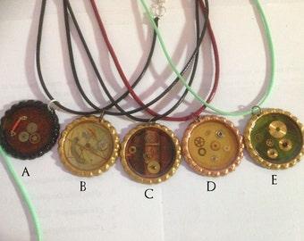 Steampunk resin pendants