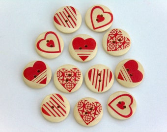 12 Red Heart Pattern Wooden Buttons #EB8