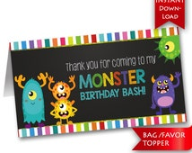 Monster Birthday Bash Party Favor Toppers {Instant Download}