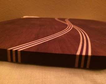 Extra large handmade cherry,  cutting board with inset design