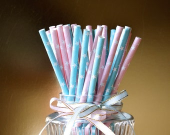 Gender Reveal Party Decorations, Paper Straws, Set of 25, Baby Shower