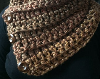 Handmade buttoned brown scarf