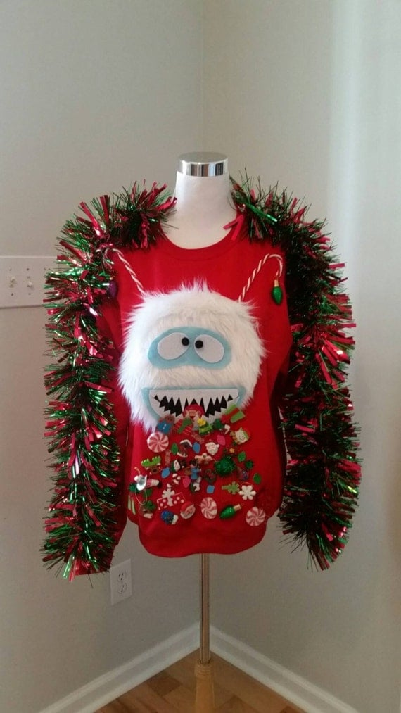 Ugly Christmas Sweater Abominable Snowman Bumble Throwing