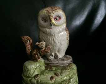 Beatrix Potter Owl and Squirrel Music Box