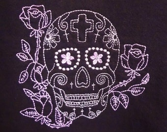 Embroidered Sugar Skull Sweatshirt with 3/4 Length Cuffed Sleeves