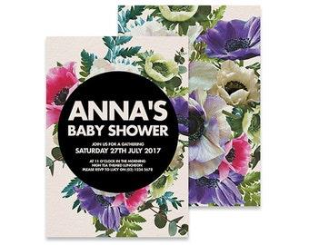 Printable Baby Shower Invitation | Astrid Floral | Printable DIY Invite, Affordable Invitation, Digital Invite, Baby Shower Printable