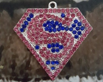 Superman rhinestone necklace pendant 50mm Superhero Pink and blue bubblegum necklace chunky necklace