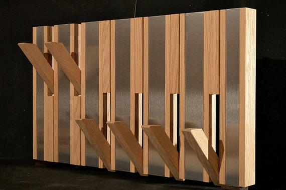 Designer Coat Rack Oakstainless Steel Inand Fold Out Hooks - Designer coat rack