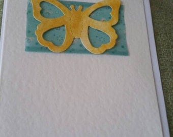 Yellow butterfly card blank