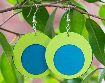 Minimalist paper earrings blue/lemon small