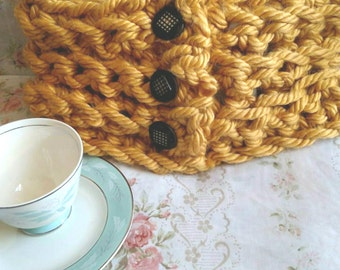 Surely Inspired Large Stitch Short Cowl in Mustard