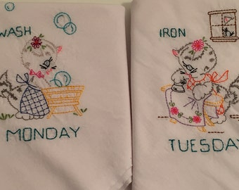 Kitty Cat Day of the Week Dish Towels set of 7