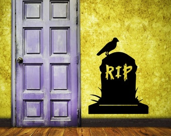 Halloween Wall Decal Tombstome RIP Vinyl Wall Decal Decor RIP Tombstone Halloween Party Decor RIP Tombstone